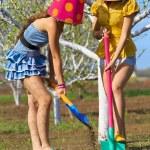Crazy girl gardeners — Stock Photo #70284851