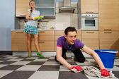 Man cleaning floor — Stock Photo