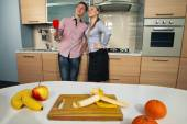 Lovely couple in kitchen — Foto Stock
