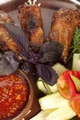 Pork ribs with vegetables — Stock Photo