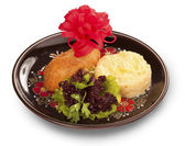 Kiev cutlet with mashed potato — Stock Photo