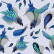 Seamless pattern with jungle birdies — Vecteur #63478289