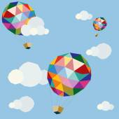 Polygonal balloons in sky — Vecteur
