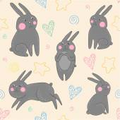 Easter pattern with rabbits — Stok Vektör