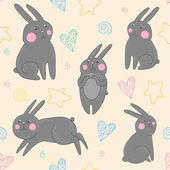 Easter pattern with rabbits — Stock vektor