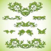 Green floral vignettes — Stock Vector