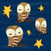 Cute dreamed owls — Stock Vector