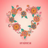 Valentine's Day heart with flowers — Stock Vector