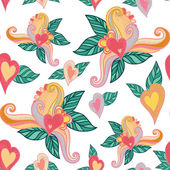 Pattern with hearts and leaves — Stock Vector