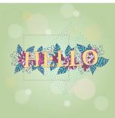 "Vintage postcard with ""hello"" word — Vetor de Stock"