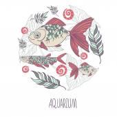Illustration with fish cartoon — Stock Vector