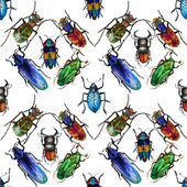 Background with watercolor beetles — Fotografia Stock