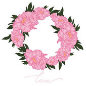 Gently wreath with peonies — Stock Vector