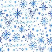 Pattern with snowflakes and lettering — Stock Vector