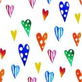 Watercolor colorful hearts — Stock Vector