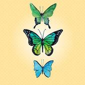 Watercolor vector butterflies — Wektor stockowy