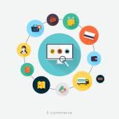 E-commerce flat poster — ストックベクタ