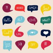 Speech bubbles with short messages — Stock Vector