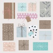 Gift boxes in crafting paper — Stock Vector