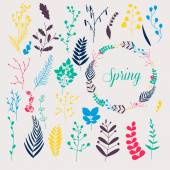 Collection of spring flowers and leaves — Stock Vector