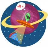 Amor alienígena — Vetorial Stock