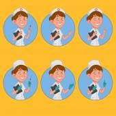 Set of avatars nurse — Stock Vector