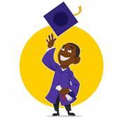 Graduate rejoices — Stock Vector