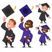 Set of graduates — Stock Vector