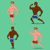Set of bodybuilders — Stock Vector