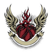 Illustration of heart with wings. — Vetor de Stock