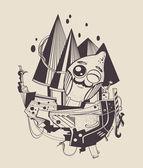 Illustration of cartoon sailor-lemon. — Stock Vector