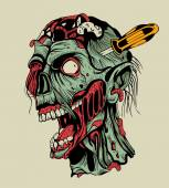 Zombie head with a screwdriver. — Stock Vector