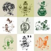 Set of nine illustration for St. Patricks Day. — Stok Vektör