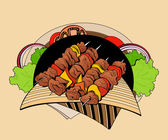 Image of four skewers with pieces shashlik. — Stock Vector