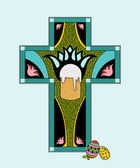 Illustration of colorfull Easter stained glass. — Stockvektor