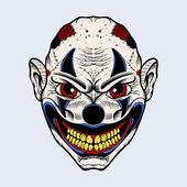 Illustration of evil clown with red eyes. — Stock vektor