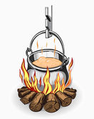 Tourist pot of food on a fire. — Stock Vector