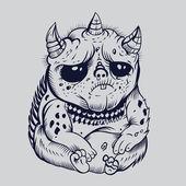 It is sad cute cartoon monsters. — Stock Vector