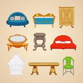 Set of illustrations of home furnishings on a beige background. — Stockvektor