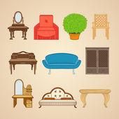 Set of ten illustrations furniture. — ストックベクタ