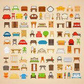 Set of eighty six illustrations furniture for home. — Stock Vector
