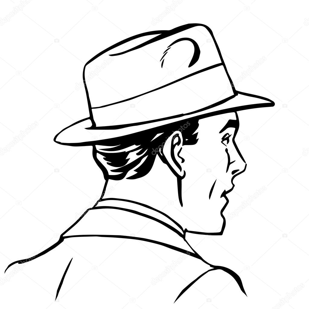 Dessin au trait profil chapeau homme image vectorielle studiostoks 101365812 - Profil dessin ...