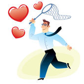 Businessman with a net catches flying red heart — Stock Vector
