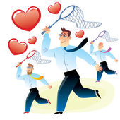 Men in search of love caught red heart butterfly net — Stock Vector