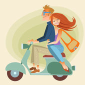 Lovers man and woman on retro bike going down the road — 图库矢量图片