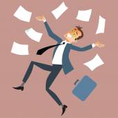 Businessman throws paper — Stock Vector
