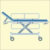 Medical stretcher bed on wheels — Vetor de Stock