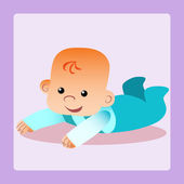 Happy baby is lying on his stomach trying to crawl — Stock Vector