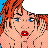 Girl shocked Pop art vintage comic — Stock Vector