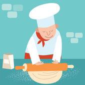 Cook rolls dough — Stock Vector